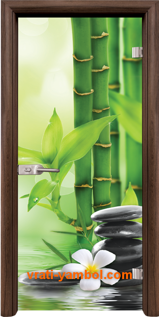 Стъклена интериорна врата модел Print G 13-9 с каса Орех