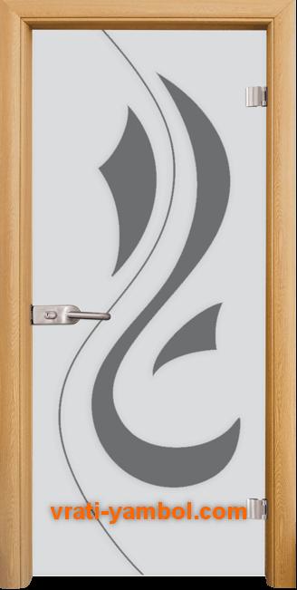 Стъклена интериорна врата модел Sand G 14-10 с каса Светъл дъб