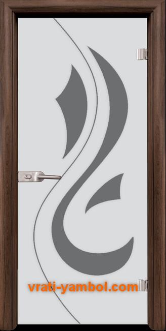 Стъклена интериорна врата модел Sand G 14-10 с каса Орех