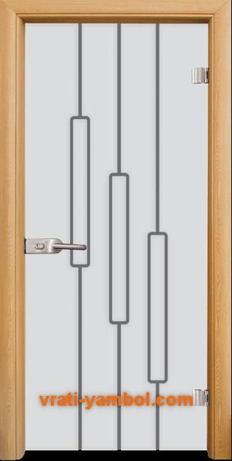 Стъклена интериорна врата модел Sand G 14-11 с каса Светъл дъб