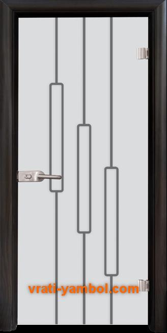 Стъклена интериорна врата модел Sand G 14-11 с каса Венге