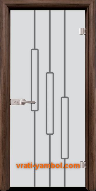 Стъклена интериорна врата модел Sand G 14-11 с каса Орех