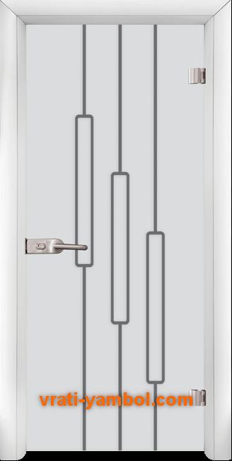 Стъклена интериорна врата модел Sand G 14-11 с каса Бяла