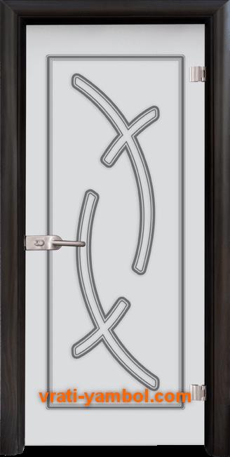 Стъклена интериорна врата модел Sand G 14-9 с каса Венге