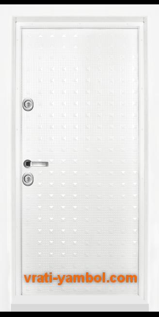 Блиндирана входна врата, модел Т777, цвят Бял гланц